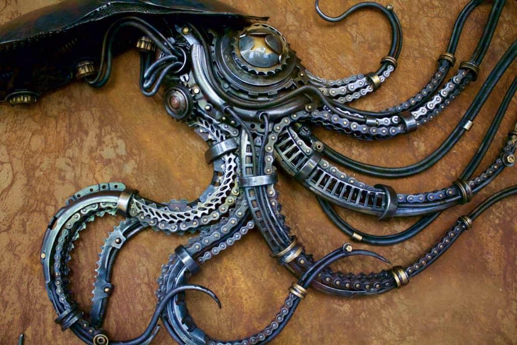 Octopus metal scrap sculpture