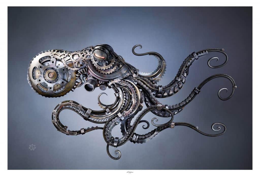 Full width pic of octopus sculpture